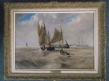FRAMED OIL ON CANVAS PAINTING by T.W.B.GIBBS THE RETURN OF THE FISHING FLEET
