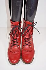 JUSTIN WOMENS 7.5 B RED LACE UP LACERS LEATHER ROPERS COWBOY WESTERN BOOTS