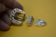"""FLEMING Sterling Silver 3 pc Filigree Cut Dress Western Buckle Set *1/2"""" Belt"""