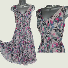 *MONSOON*Light Pink Floral Print V-Neckline Pleated Front Casual Dress sz10 EU38