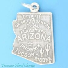 ARIZONA STATE MAP PHOENIX TUCSON FLAGSTAFF .925 Solid Sterling Silver Charm