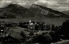 Spiez Kanton Bern alte Postkarte 1958 gelaufen Teilansicht Blick auf Thuner See