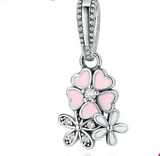 925 Silver three flowers Charm Beads Fit European Bracelet Pendant Chain ass4
