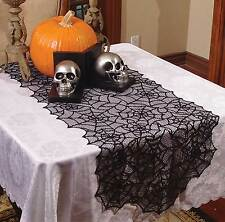 Haunted House Gothic Black LACE SPIDER WEB TABLE RUNNER Halloween Decoration-80""