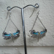 Scottish Silver & Enamel Art Nouveau Dragonfly Earrings  -  Pat Cheney h/m 1982