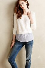 NEW Anthropologie Terrace Pullover Sweater Adorable Polka Dots Lace Size Medium!