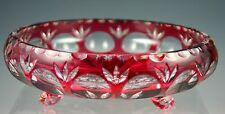 Ruby Red Cut to Clear Crystal Footed BOWL