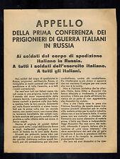 Original USSR WW 2 Surrender Leaflet Italian POW Prisoner of War COnference