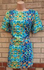 PRIMARK GREEN BLUE ABSTRACT ORANGE SMOCK SHIFT TUNIC CAMI TEA DRESS 12 M