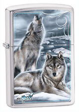 "Zippo ""Winter Wolves-Mazzi"" Lighter, Brushed Chrome Finish, Full Size, 28002"