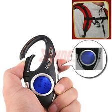 LCD Digital Compass Thermometer Clock Carabiner Clip on Travel Camping Hiking