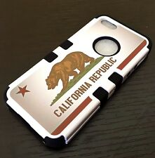 For iPhone SE 5S - HARD & SOFT RUBBER HYBRID ARMOR CASE CALIFORNIA REPUBLIC FLAG