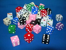 ASSORTED OPAQUE DICE 10 COLORS 10 EA  (100 PACK) 16mm BUNCO PARTY? FREE SHIPPING