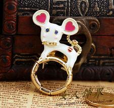 R6 BETSEY JOHNSON Cute White Mouse Adjustable Ring US
