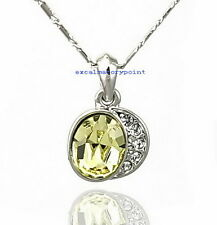 White Gold Plate Light Topaz Yellow Swarovski Crystal Cherry Apple Necklace N214