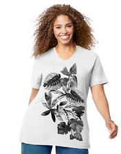 NEW Just My Size graphic V neck tee shirt white & glitzy Palm Leaves 5X