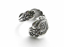 SILVER SPOON RING Antique Silver Floral Heart Retro Spoon  - Finger Wrap