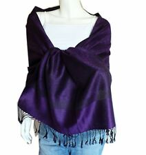 Soft New Pashmina Paisley Floral Silk Wool Scarf Wrap Shawl-Black/Dark purple.VA