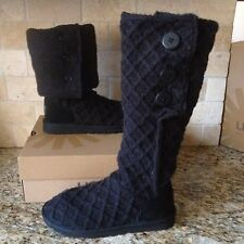UGG BLACK LATTICE CARDY KNIT SHEEPSKIN TALL BOOTS US 8 WOMENS 3066