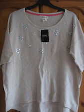 NEW WOMEN'S NEXT SHORT SLEEVES T SHIRT TOP COTTON NATURAL MARL GEMS SIZE UK 14
