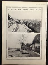 ANTIQUE PRINT - WW1 WATCHING THE ENEMY FROM BELOW MOTOR CYCLIST AMBUSH  - 1915