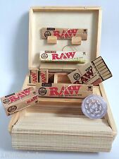 Wooden Roll Box Smokers Gift Set Mixed Raw Kingsize Papers Grinder Tips Deal