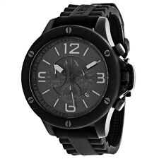 BRAND NEW ARMANI EXCHANGE AX1523 BLACK RUBBER BAND CHRONOGRAPH STEEL MEN'S WATCH