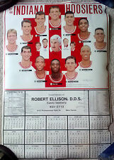 INDIANA UNIVERSITY HOOSIERS MEN'S BASKETBALL POSTER SCHEDULE 1993-94 LARGE SIZE