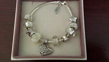 """Authentic Pandora Sterling Silver Charm Bracelet with European Charms Beads 7.1"""""""