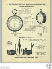1913 PAPER AD Prismatic Compasses Aneroid Barometer Surveying Verschoyle Pocket