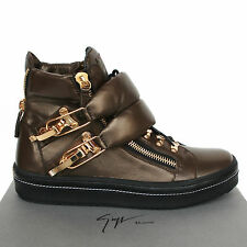 GIUSEPPE ZANOTTI Homme $1,350 bronze puffy strap shoes Gullit sneakers 41/8 NEW