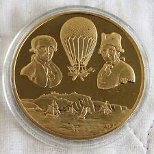 1st FLIGHT OVER SEA 1785 44mm BRONZE PROOF MEDAL - RAF MUSEUM MAN IN FLIGHT