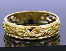 R062 - Solid 18K Yellow Gold Filigree Scroll Wedding Band Ring Friendship size N