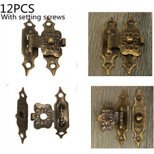 12PCS Antique Brass Decorative Mini Jewelry Gift Wine Box Wooden Case Hasp Latch