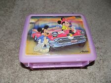 Vintage Plastic Lunch box With Thermos Pink Mickey Mouse and Minnie Mouse