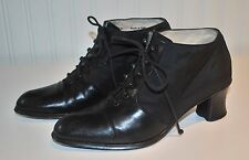 Bally Ladies 8 8.5 Lace Up Black Ankle Booties Fabric and Leather Size 39 Bruina