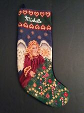 "Michelle Needlepoint Christmas Stocking Personalized 19"" Angel Candy Canes Pine"
