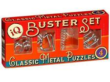 IQ BUSTER SET OF 4 METAL PUZZLES CLASSIC BRAIN TEASER MIND BENDER NOVELTY GAMES