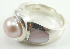 Sterling Silver Ring Pearl Mother of Pearl MOP Pink Size 9