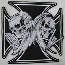 Large Death Devil Iron Cross Bike Motorcycle Biker Embroidered Sew Badge Patch