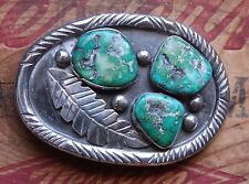 Vintage Sterling Silver Hand Made Native American Turquoise Western Belt Buckle
