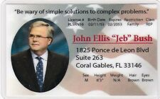Jeb Bush fun novelty plactic collectors card President Presidential Candidate