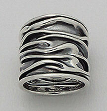 22mm Wide Solid Sterling Silver CRINKLED Cigar Band Ring size 9 GORGEOUS 8.5g