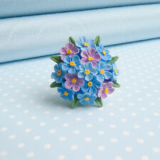 FORGET ME NOT  BROOCH hand-painted flower jewellery  MADE IN WALES UK