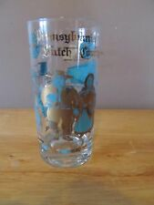 Vintage Pennsylvania Dutch Country Drinking Glass~Blue/Gold Graphics~Great Shape