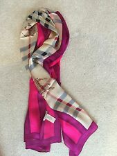 Burberry 100% Silk Ladies Scarf Shawl Pink Purple Excellent Condition