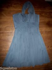PRISCILLA OF BOSTON - SLATE GRAY CHIFFON 1-SHOULDER & SASH DRESS - LADIES 4