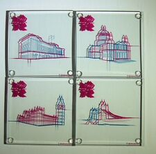 Set of Four The London 2012 Summer Olympics Clear Glass Square Drink Coasters UK