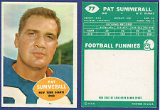 1960 Topps Pat Summerall Football Card #77 NRMT Giants