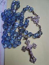 Ancien chapelet argent perles verre cristal facettes crucifix N°2